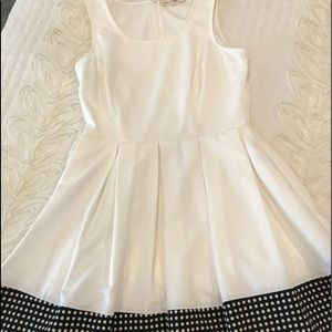 Cream and Black polka dot pleated dress